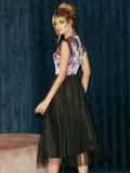 Атласное платье с расклешенной юбкой черное 51789, фото 7
