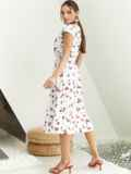 Платье с принтом и фигурным вырезом белое 54143, фото 4