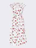 Платье с принтом и фигурным вырезом белое 54143, фото 5