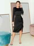Приталенное платье из атласа с оборкой на юбке черное 51797, фото 2