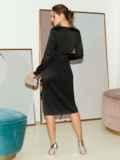 Приталенное платье из атласа с оборкой на юбке черное 51797, фото 4