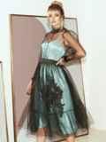 Расклешенное платье из атласа с фатином мятное 51785, фото 2