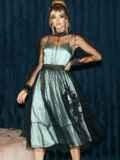 Расклешенное платье из атласа с фатином мятное 51785, фото 5