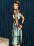 Расклешенное платье из атласа с фатином мятное 51785, фото 6