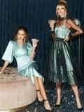 Расклешенное платье из атласа с фатином мятное 51785, фото 7