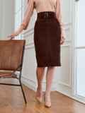 Вельветовая юбка прямого кроя с разрезом спереди коричневая 53501, фото 2
