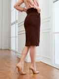 Вельветовая юбка прямого кроя с разрезом спереди коричневая 53501, фото 3