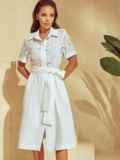 Белое платье-рубашка с отрезом по талии 53921, фото 3