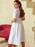 Белое платье-рубашка с отрезом по талии 53921, фото 4