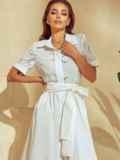 Белое платье-рубашка с отрезом по талии 53921, фото 5