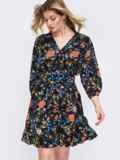 Чёрное платье на пуговицах в цветочный принт 48044, фото 2