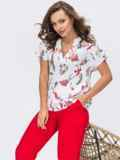 Красный брючный костюм с принтованной блузкой белого цвета 54354, фото 1