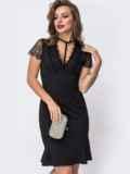 Чёрное платье с фатиновыми вставками на кокетке и рукавах 43052, фото 4