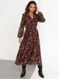 Коричневое платье с принтом и юбкой-полусолнце 52538, фото 2
