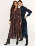 Коричневое платье с принтом и юбкой-полусолнце 52538, фото 3