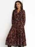 Коричневое платье с принтом и юбкой-полусолнце 52538, фото 4