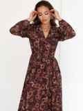 Коричневое платье с принтом и юбкой-полусолнце 52538, фото 6