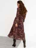 Коричневое платье с принтом и юбкой-полусолнце 52538, фото 7