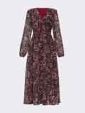 Коричневое платье с принтом и юбкой-полусолнце 52538, фото 9