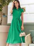 """Платье на запах с двухъярусным рукавом """"крылышко"""" зелёное 48901, фото 1"""