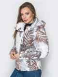 Белая куртка с растительным принтом и воротником-стойкой 20262, фото 2