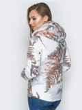 Белая куртка с растительным принтом и воротником-стойкой 20262, фото 3