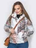 Белая куртка с растительным принтом и воротником-стойкой 20262, фото 4