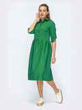 Платье-миди с отложным воротником зеленое 50720, фото 1