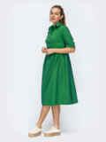 Платье-миди с отложным воротником зеленое 50720, фото 3