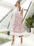 Расклешенное платье из штапеля с цветочным принтом розовое 54135, фото 2