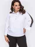 Белая блузка батал с кружевными вставками на рукавах 50000, фото 2
