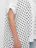 Белая блузка батал с удлинённой спинкой из шифона в горошек 48429, фото 5