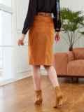 Прямая юбка из вельвета с разрезом спереди коричневая 53504, фото 3