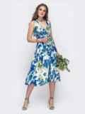 Длинное платье на запах с цветочным принтом голубое 48247, фото 2