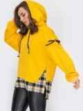 Комбинированное худи со вставкой в клетку жёлтое 53167, фото 3