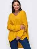 Oversize свитер большого размера с V-образным вырезом жёлтый 54285, фото 2