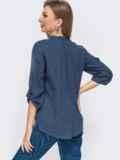 Синяя блузка из рубашечной ткани с начесом и вышивкой 51606, фото 2