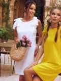 Белое платье из прошвы с открытой спинкой 54343, фото 3