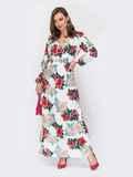 Молочное платье-макси с принтом и расклешенной юбкой 53287, фото 1