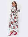 Молочное платье-макси с принтом и расклешенной юбкой 53287, фото 3