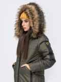 Куртка с вшитым капюшоном и репсовой лентой хаки 41244, фото 6