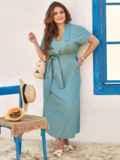 Голубое платье-макси батал из тонкого джинса с лацканами 54394, фото 2