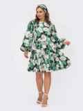 Зеленое платье с цветочным принтом и объемными рукавами 54082, фото 2