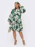 Зеленое платье с цветочным принтом и объемными рукавами 54082, фото 3