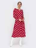 Платье-рубашка красного цвета в крупный горох 42225, фото 2