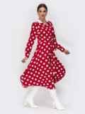 Платье-рубашка красного цвета в крупный горох 42225, фото 3
