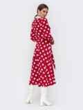 Платье-рубашка красного цвета в крупный горох 42225, фото 4