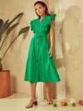 Зеленое платье с оборками и планкой с пуговицами по длине 53925, фото 2