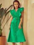 Зеленое платье с оборками и планкой с пуговицами по длине 53925, фото 3