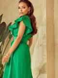 Зеленое платье с оборками и планкой с пуговицами по длине 53925, фото 4